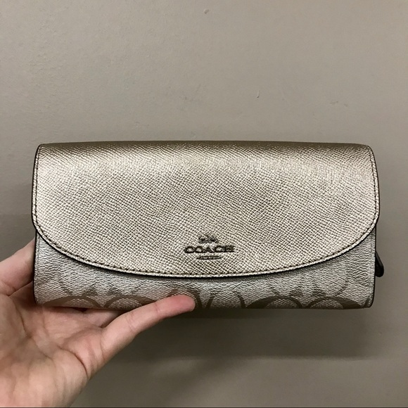 Coach metallic monogram leather wallet